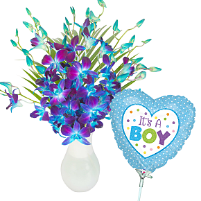 Flower bouquet Blue Dendrobium with It's a Boy Bal...