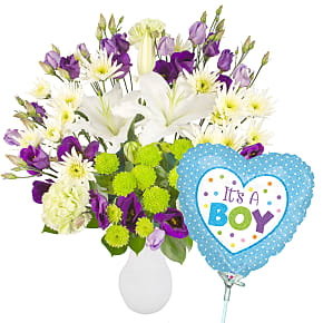 Flower bouquet Apple Sours with It's a Boy Balloon