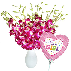 Flower bouquet Bali Hai with It's a Girl Balloon