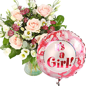 Flower bouquet Bella with Its a Girl Balloon