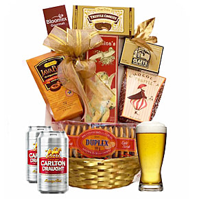 Flower bouquet Beer & Nibbles Basket