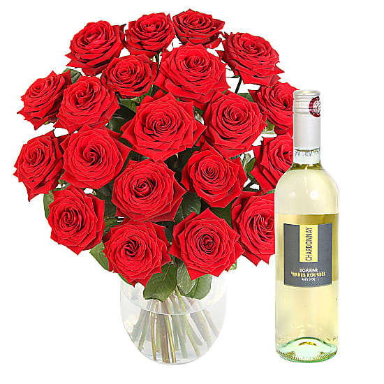 20 Luxury Red Roses with White Wine