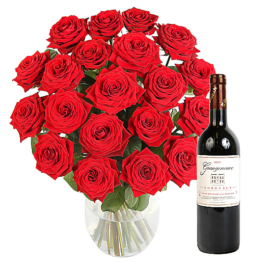 Red Roses and Red Wine Gift