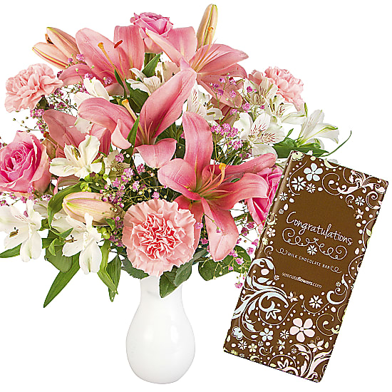 Perfect Pinks with Congratulations Chocolate Bar