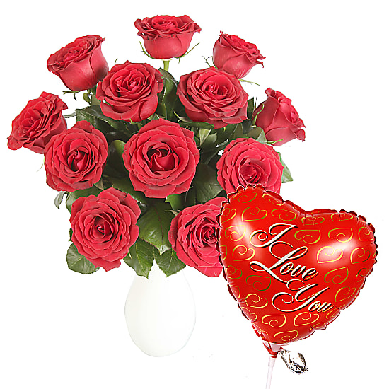 A Dozen Red Roses Giftwrap with I Love You Balloon