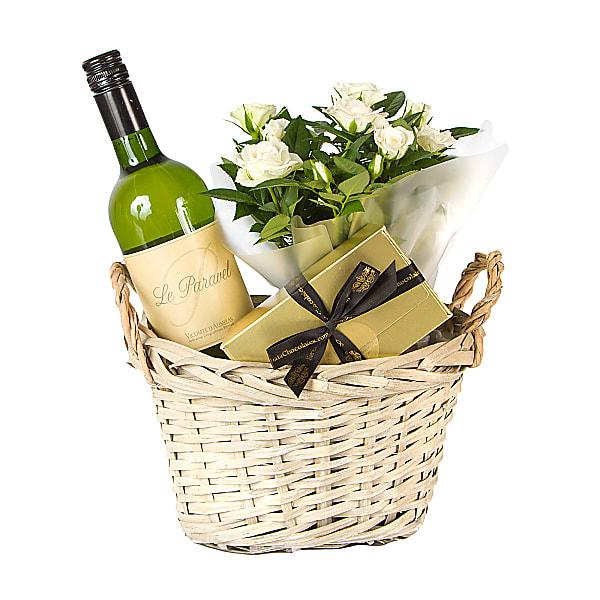 White Wine White Rose Plant Hamper