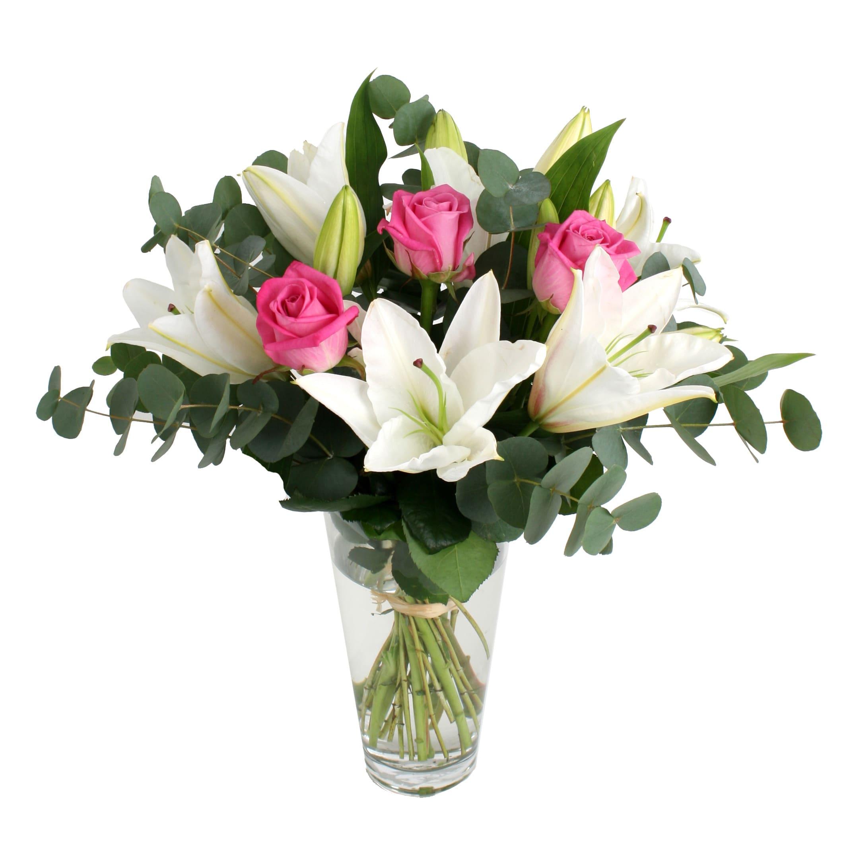 Цветной букет из лилии и трех роза, букета роз