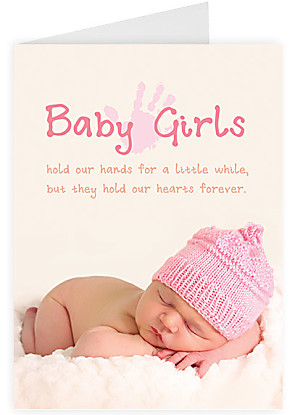 Greeting card Baby girls hold our hands...