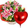 Pink Lilies and Roses with Heart Balloon