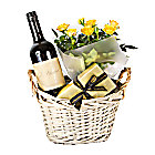 Red Wine Gift Basket Yellow Roses