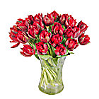 30 Red Tulips with Vase