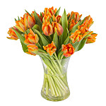 30 Orange Tulips with Vase