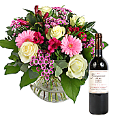 Flower bouquet Beautiful Smile with Red Wine