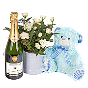 Flower bouquet Baby Boy Rose Gift with Champagne