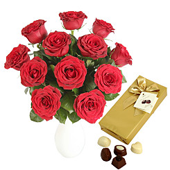 Flower bouquet A Dozen Red Roses with Chocolates-G...