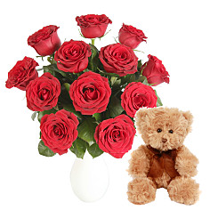 A Dozen Red Roses Giftwrap with Ted...