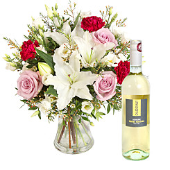Flower bouquet Reflection with White Wine