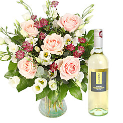 Flower bouquet Bella with White Wine