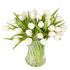 Flower bouquet 30 White Tulips with Vase