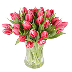 Flower bouquet 30 Pink Tulips with Vase