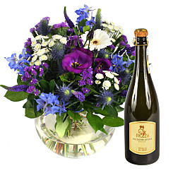 Flower bouquet Ocean Whisper with Prosecco