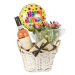 Gift delivery Rose Wine Gift Basket Happy Birthda...