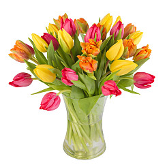 Flower bouquet Bright Mix Tulips with Vase