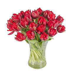Flower bouquet 30 Red Tulips with Vase