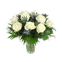 Flower bouquet 12 Roses Blanches