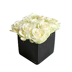 Flower bouquet Roses Blanches en Cube