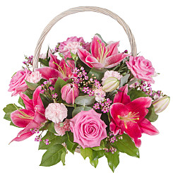Flower bouquet Pink Lily Basket