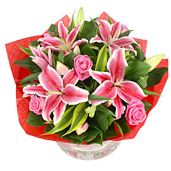 Flower bouquet Pink Lilies and Roses