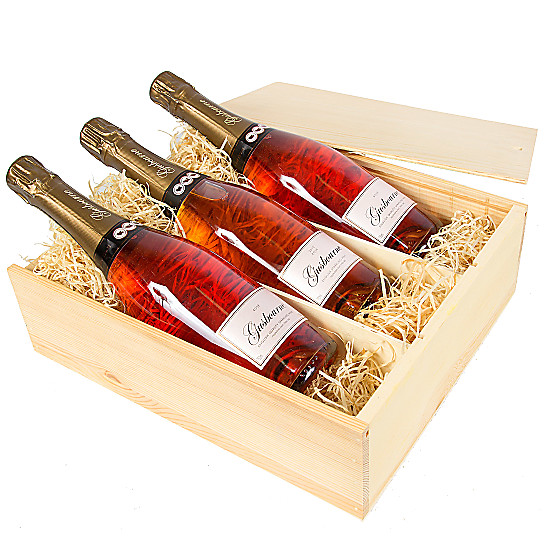 Serenata Flowers Rose English Sparkling Wine Trio Picture