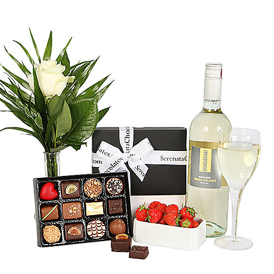 Serenata Flowers Chardonnay and Luxury Belgian Chocolates Picture