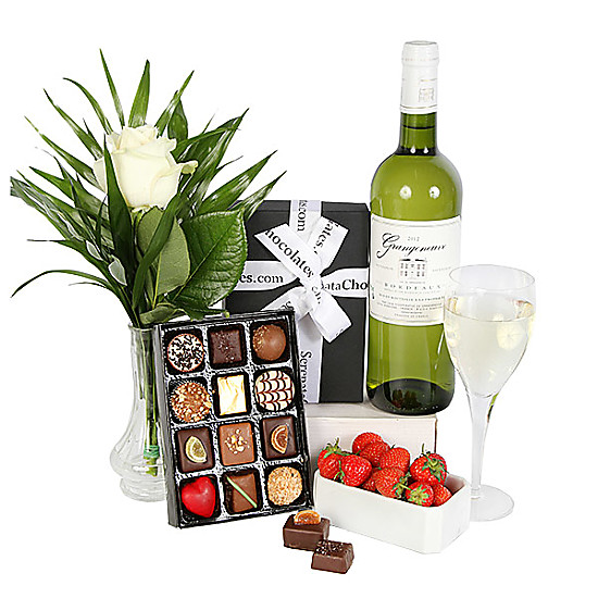Serenata Flowers White Wine and Chocolates Picture
