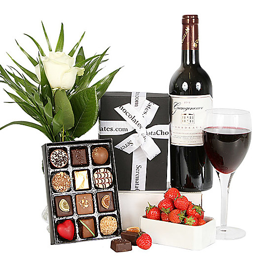 Serenata Flowers Bordeaux and Luxury Belgian Chocolates Picture