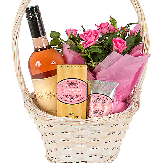 Birthday Gift Basket Delivery Uk With Rose Petal Hand Cream Delivered Next Day