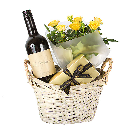 Serenata Flowers Red Wine Gift Basket Yellow Roses Picture
