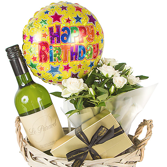 White wine gift basket happy birthday delivered next day for Next day wine gifts