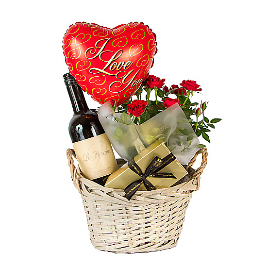 Serenata Flowers Red Wine Gift Basket I Love You Picture