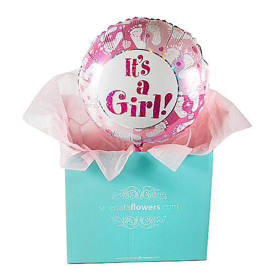 Serenata Flowers Its a Girl Footprints Balloon Gift Picture