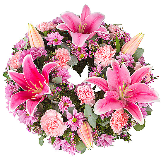 Serenata Flowers Pink Lily Wreath Picture