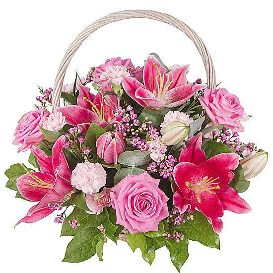 Serenata Flowers Pink Lily Basket Picture