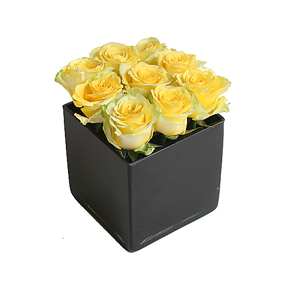 Serenata Flowers Yellow Roses Cube Picture