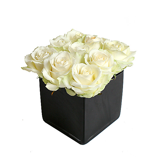 Serenata Flowers White Roses Cube Picture