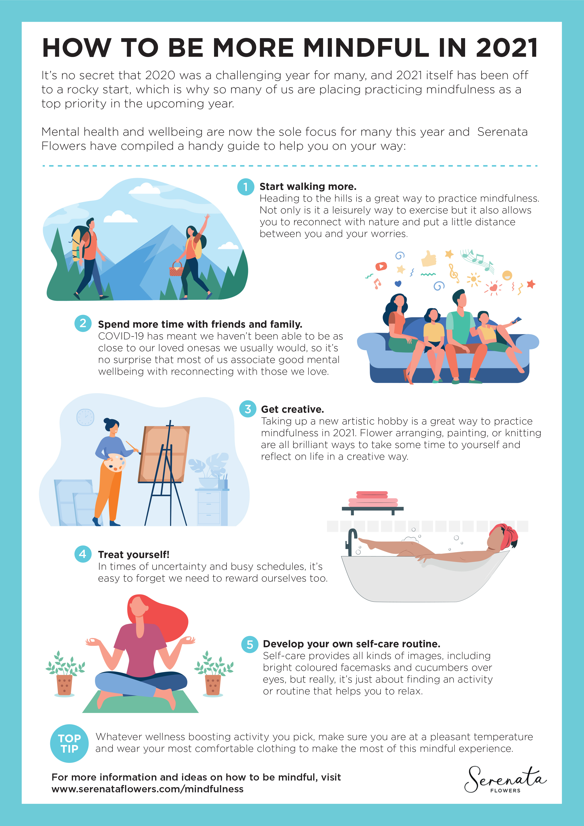 How to Become More Mindful - Serenata Flowers- Infographic